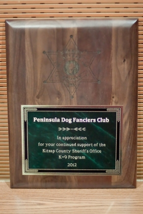 The plaque presented to PDFC by the Kitsap County Sheriff's Office in recognition of our support